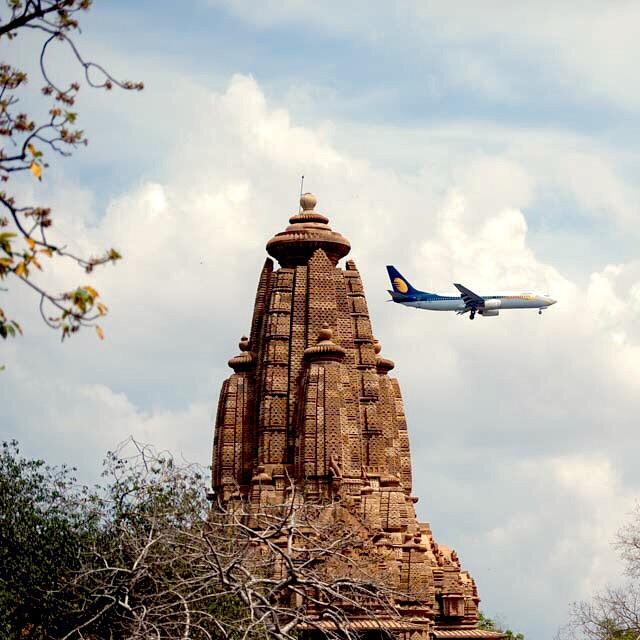 New and old meet. Khajuraho Temples India. April 2015 #India #incredibleindia #khajuraho  #aircraft #nikon_photography_ #nikonnofilter #nikon #jetairways #aviation #planespotters #gadventures