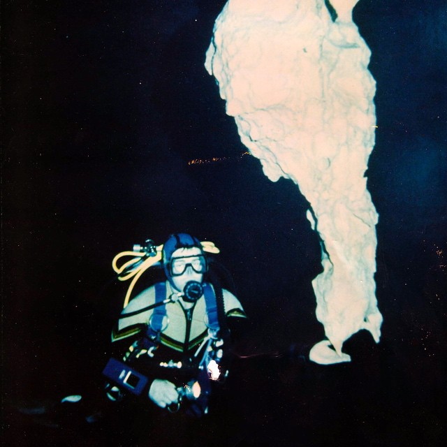 This photo was taken in the Temple of Doom Cenote just west of Tulum in the Mid 1980s. It's of my friend and frequent dive partner Steve Berman. We dove together and explored underwater cave systems in Florida and Mexico. Steve died 14 years ago today maping a cave in North Florida. Diving with Steve was awesome. We could communicate with out speaking or writing anything on a slate. He was a great person to be around and I miss him a lot. I love this photo of him so thought I would share today.