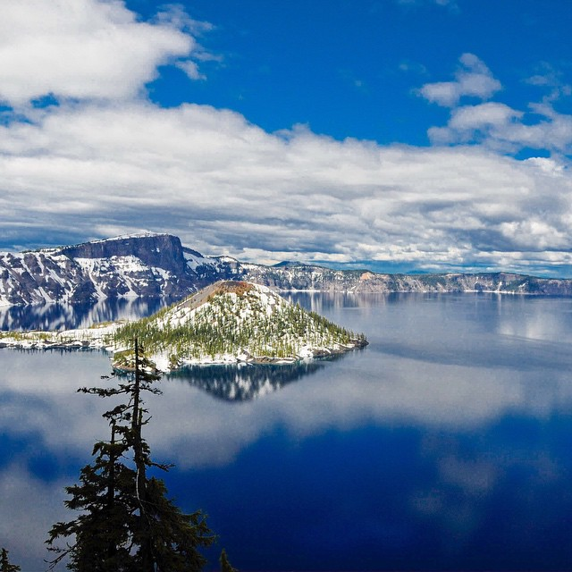 Crater Lake reflections. May 2008. Great place to camp. The lake is surrounded by snow well into July.