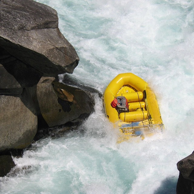 Ghost raft. Actually a class 6 rapid so had to let the raft go through with no people in it. Futaleufú River, Chile 2004