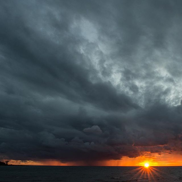Angry sunset over Lake Michigan tonight.