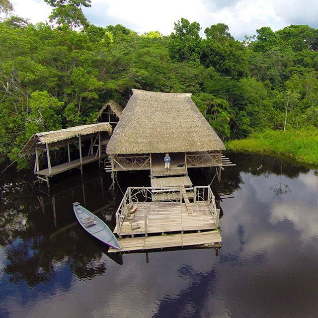 I don't often take selfies, but when I do I use a drone. Sani Lodge, Napo River Ecuador. Spent a week last November living in a hut with no running water. If your lucky you get a hammock. Unfortunately the Ecuadorian government is allowing the Chinese and Russian oil companies blow this place up. Sad.