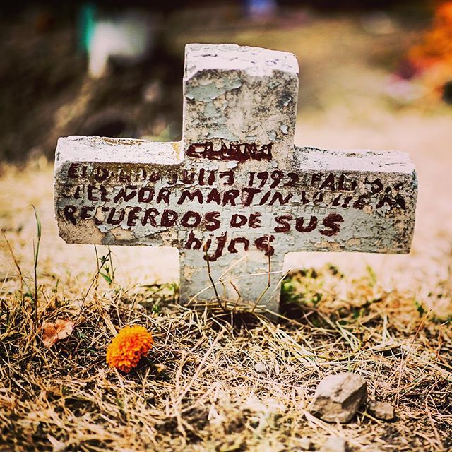 Simple grave. Most of the graves in the San Miguel cemetery have lots of flowers. This just had one, which I put there. Was kinda sad. San Miguel, Mexico. November 2012