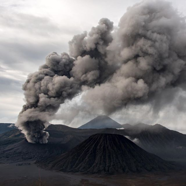 Mt Bromo blowing off some early morning steam. Indonesia December 2015.