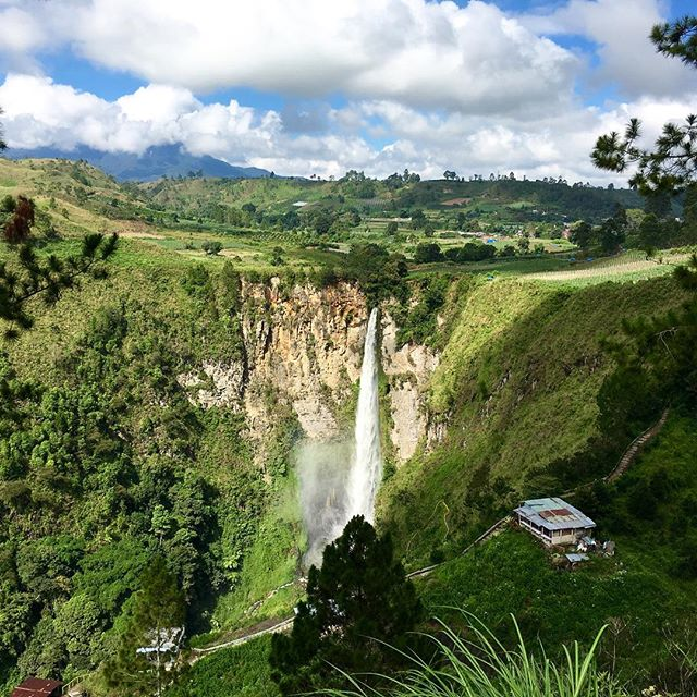 Nice day for drone flight. Sipiso Falls. Indonesia December 2015.