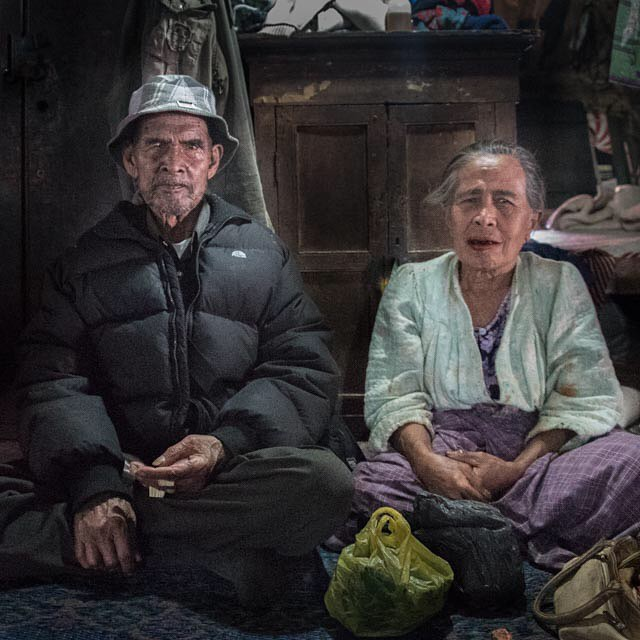 Was a guest in this couples home. They live in a traditional home called a Batak with 4 generations of their family. The man is 90, and thats his second wife!