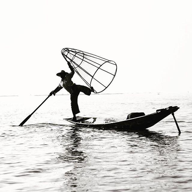 Fishing Myanmar style. Inle lake Myanmar. January 2016