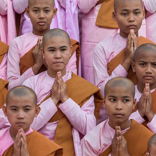 Girl Monks. That's why they get to wear pink. Yangoon Myanmar January 2016