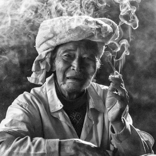 Smoke for the tea man. Kalaw Myanmar January 2016