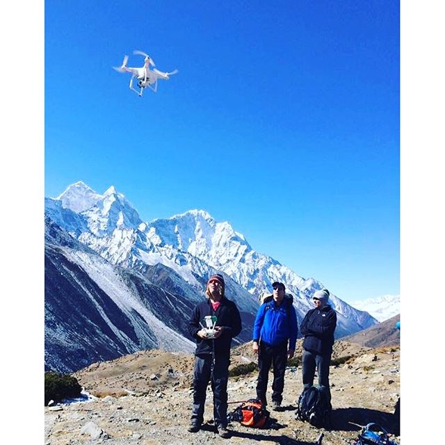 The drone visits the Everest region. Note to oneself, make sure your battery is warm and fully charged at 18000 feet.